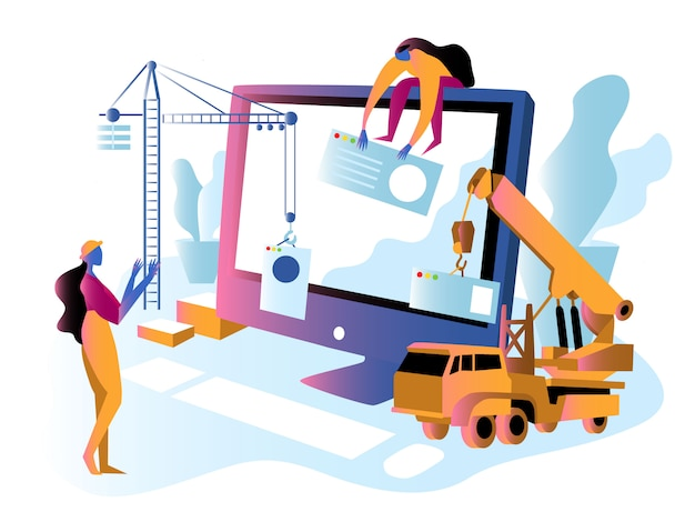 Site ou manutenção em construção Vetor Premium