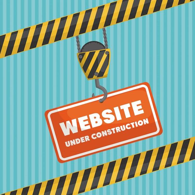 Site sob banner de construção Vetor Premium