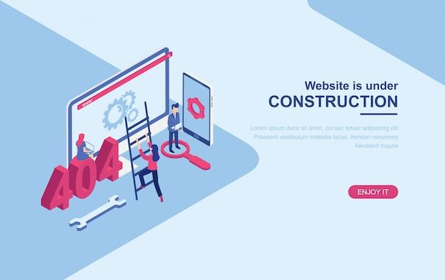 Site sob modelo de web de página de aterrissagem isométrica de página de construção Vetor Premium