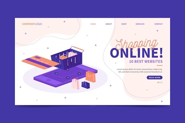 Sites para a página inicial de compras Vetor Premium