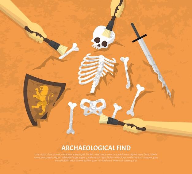 Sítio arqueológico desenterrado encontra ilustração plana Vetor grátis