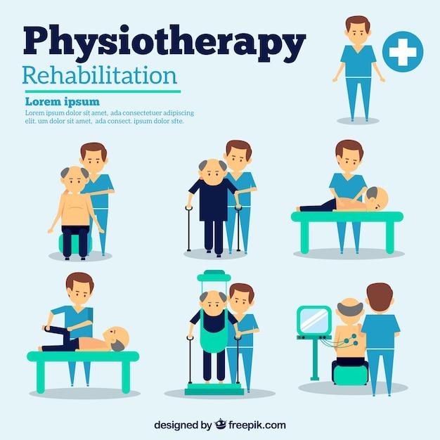 Situações de fisioterapia Vetor grátis