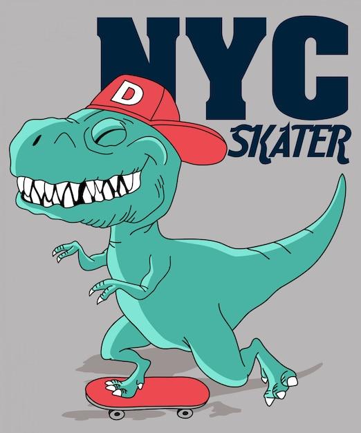 Skate de dinossauro legal Vetor Premium