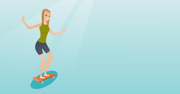 Skate de equitação caucasiano jovem. Vetor Premium