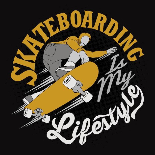 Skate é o meu estilo de vida. provérbios e citações da bicicleta. Vetor Premium