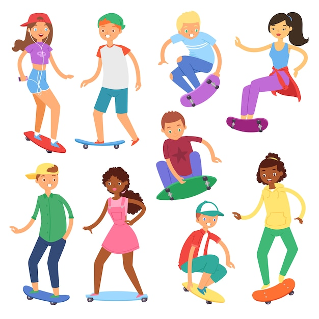 Skatistas no skate vector skate personagens de menino ou menina ou skatistas de adolescente pulando a bordo no conjunto de ilustração skatepark de pessoas patinando isolado no fundo branco Vetor Premium