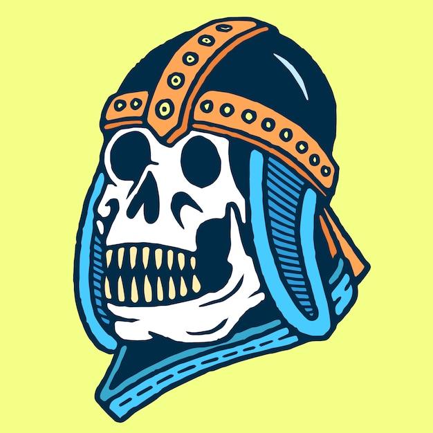 Skull with old war helmet vetor de tatuagem de velha escola Vetor Premium
