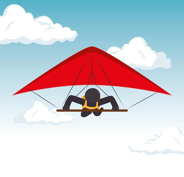 Sky gliding man flying extreme sport Vetor Premium