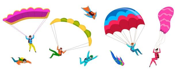 Skydivers. paraquedismo profissional, as pessoas pulam de paraquedas, voam de parapente. hobby de estilo de vida ativo, asas de paraquedismo, personagens voadores Vetor Premium