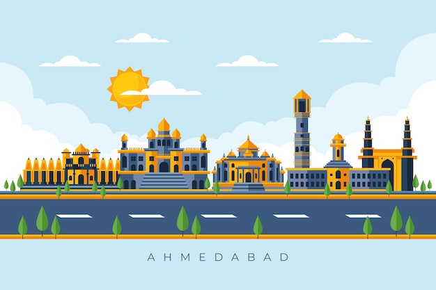 Skyline colorida de ahmedabad Vetor grátis