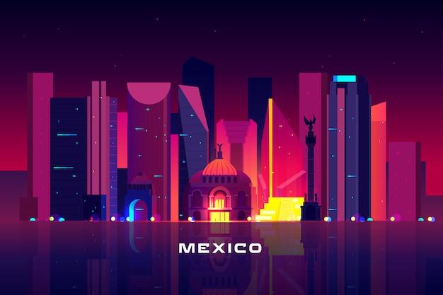 Skyline da cidade do méxico, iluminação de néon. Vetor grátis