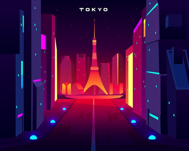 Skyline da noite da cidade de tokyo com opinião da torre da televisão do skytree na iluminação de néon. Vetor grátis