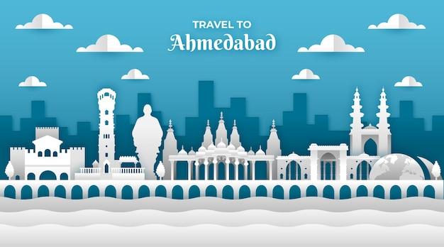 Skyline de ahmedabad em estilo de jornal Vetor Premium
