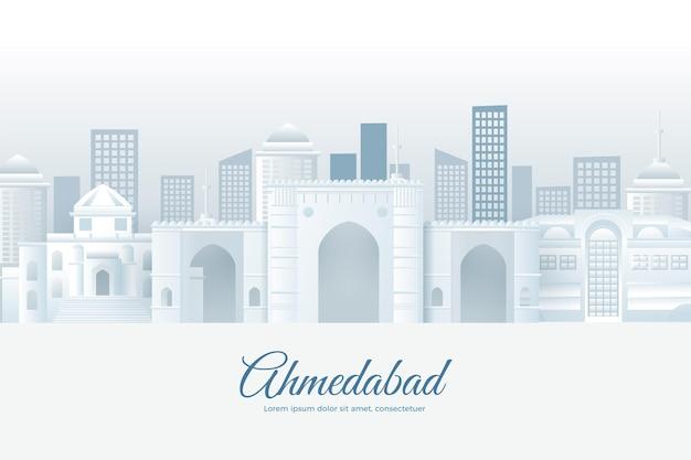 Skyline de ahmedabad em estilo de jornal Vetor grátis