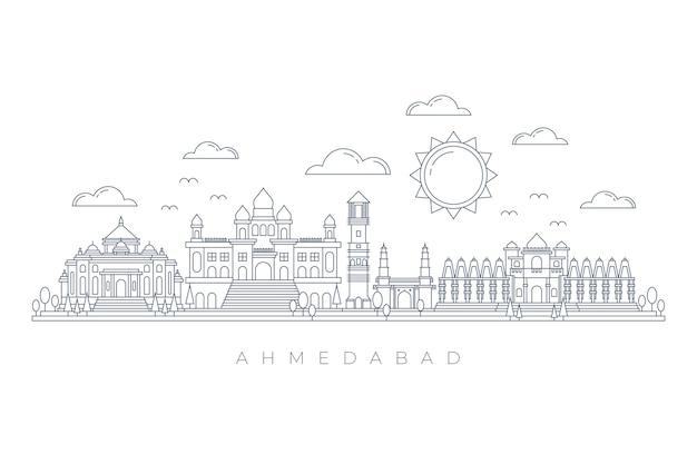 Skyline de ahmedabad linear Vetor Premium