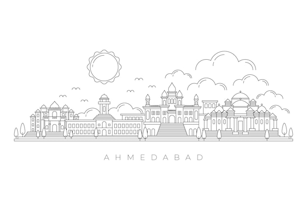 Skyline de ahmedabad linear Vetor grátis