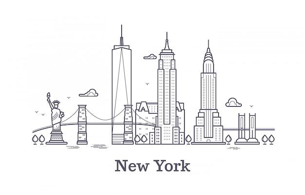 Skyline de contorno de nova york, silhueta de linha de nyc, turista de eua e conceito de vetor de viagens Vetor Premium