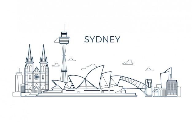Skyline de linha da cidade de sydney com edifícios e vitrines de arquitetura. Vetor Premium