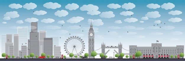 Skyline de londres com arranha-céus e nuvens Vetor Premium