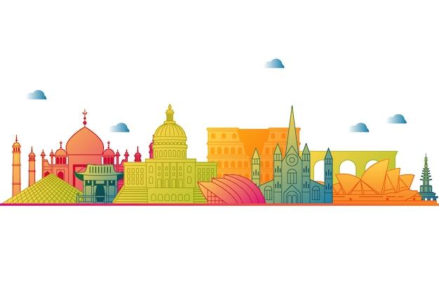 Skyline de marcos coloridos Vetor grátis