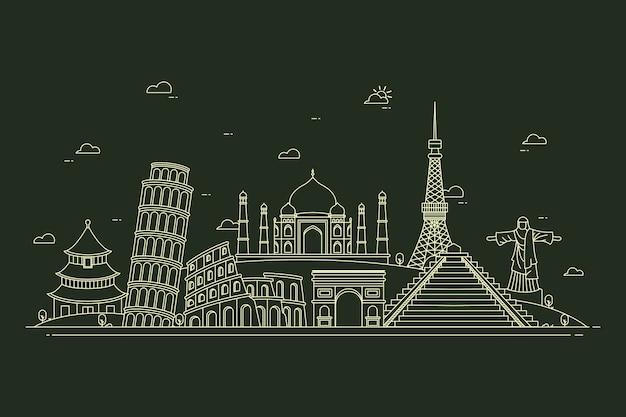 Skyline de marcos de contorno em preto e branco Vetor grátis