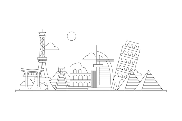 Skyline de marcos de contorno Vetor grátis