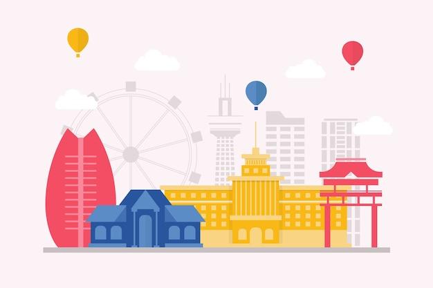 Skyline de marcos de viagem colorida Vetor grátis