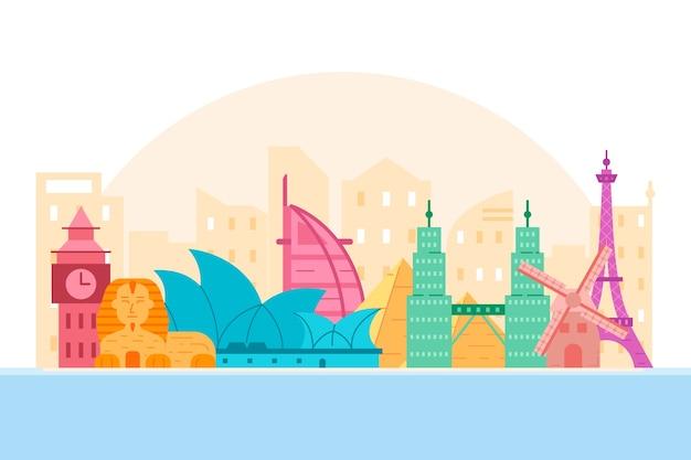 Skyline de monumentos coloridos com o big ben Vetor grátis