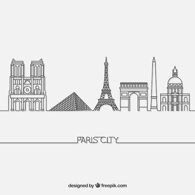 Skyline de paris Vetor grátis