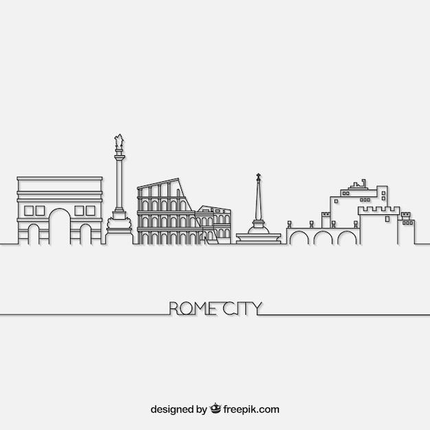 Skyline de roma Vetor grátis