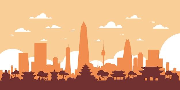Skyline de silhueta de seul coreia do sul vista de cidade com arranha-céus e marcos Vetor Premium