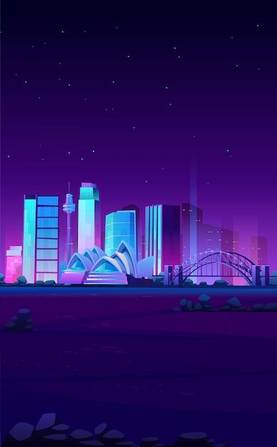 Skyline de sydney, austrália com banner da ópera Vetor grátis