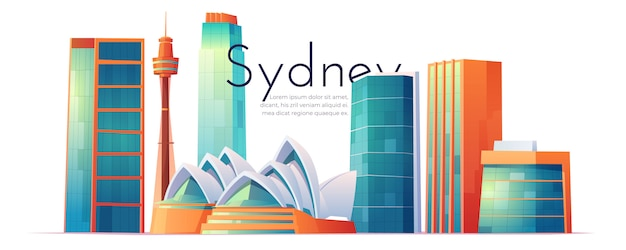 Skyline de sydney, austrália com casa de ópera Vetor grátis