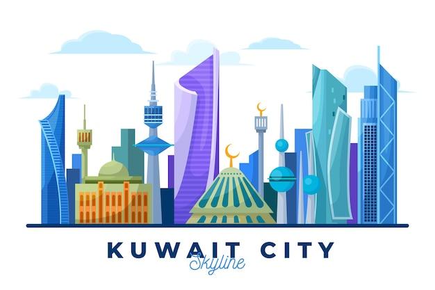 Skyline do kuwait colorido Vetor Premium