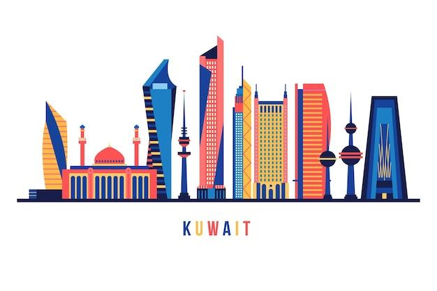 Skyline do kuwait com cores diferentes Vetor grátis