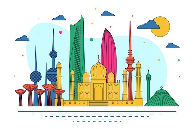 Skyline do kuwait com várias cores Vetor grátis