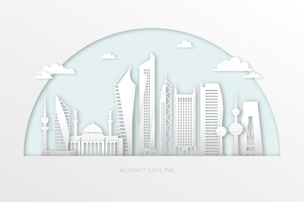 Skyline do kuwait em estilo de jornal Vetor Premium