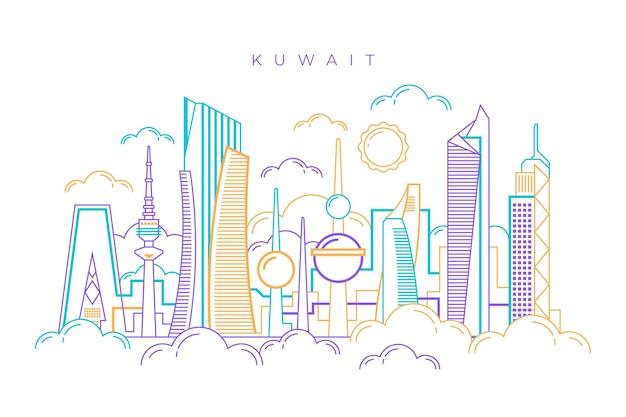 Skyline do kuwait linear Vetor grátis