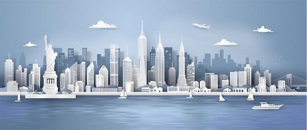 Skyline do panorama da cidade de nova york Vetor Premium