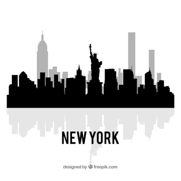Skyline preto de nova york Vetor grátis