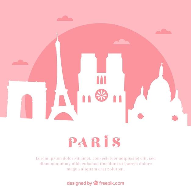 Skyline rosa de paris Vetor grátis