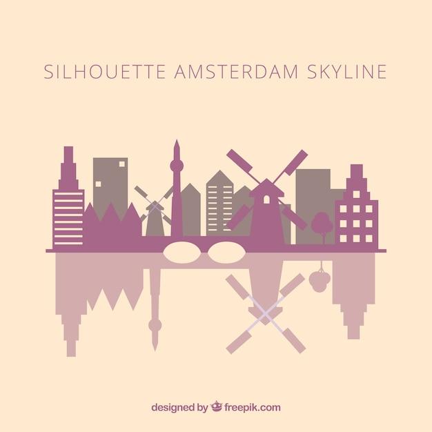 Skyline silhueta de amsterdam Vetor grátis