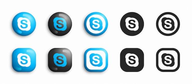 Skype moderno 3d e conjunto de ícones plana Vetor Premium