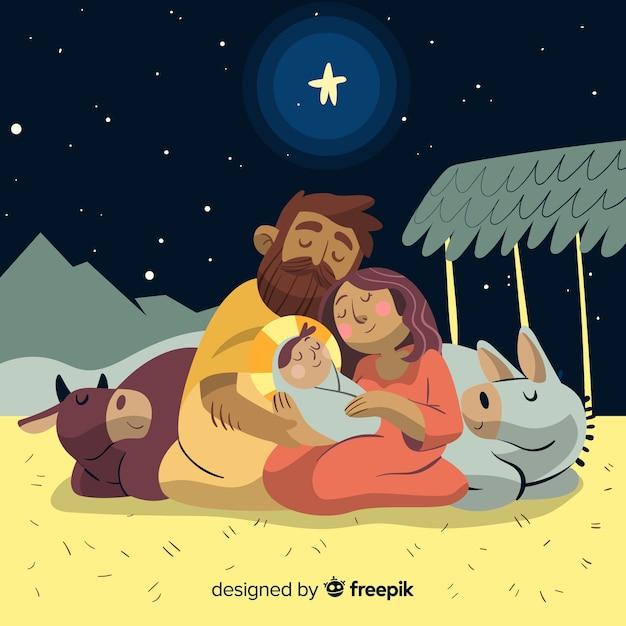 Sleeping sacred family christmas illustration Vetor Premium