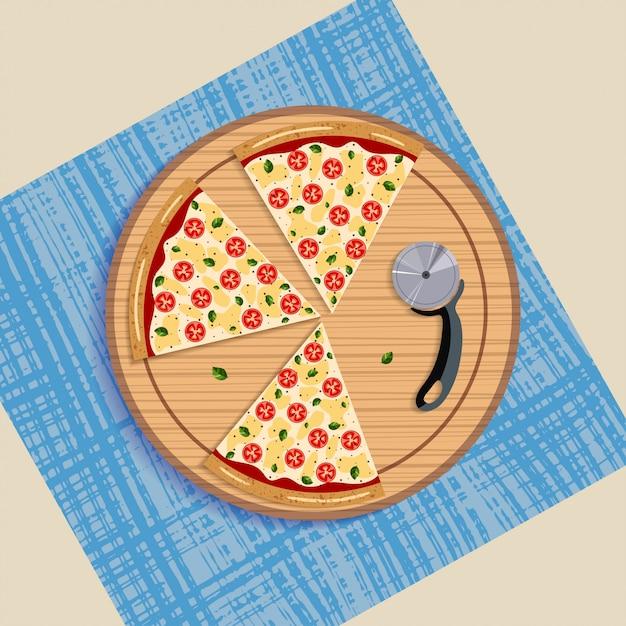 Slice margarita pizza na placa e faca de disco. Vetor Premium
