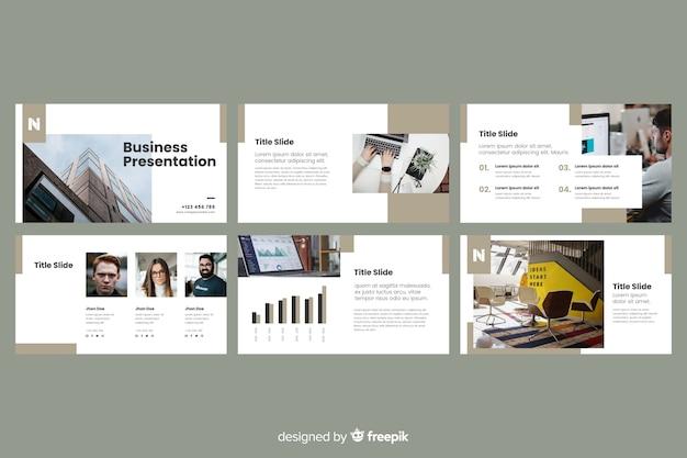 Slides de apresentação de negócios com foto Vetor grátis