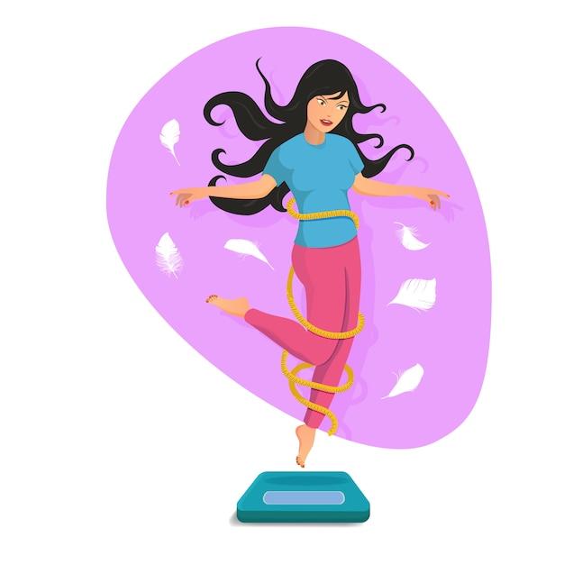Slim linda garota pular na balança e sorrir Vetor Premium