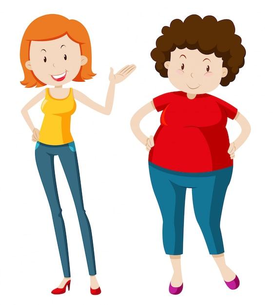 Slim mulher e gordinha Vetor grátis