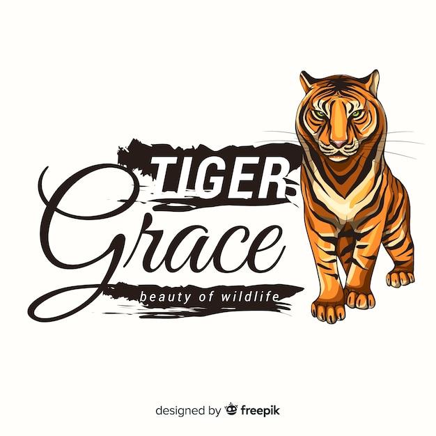 Slogan com fundo realista tigre Vetor grátis