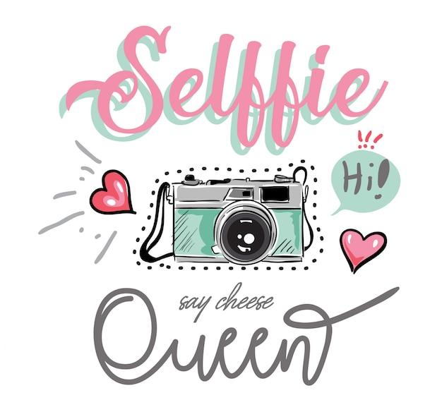 Slogan com ilustração colorida de câmera e ícones Vetor Premium
